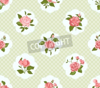 Posters Shabby Chic Motif Rose et fond transparent. Idéal pour l'impression sur tissu et papier ou le scrapbooking. Cottage chic.