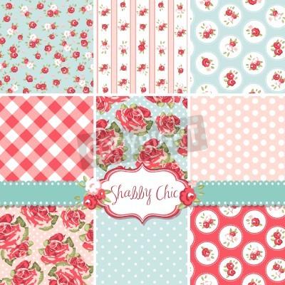 Posters Shabby Chic Rose Patterns et d'horizons sans soudure. Idéal pour l'impression de tissu et du papier ou de la ferraille Sur réservation.