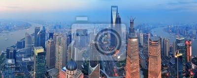 Shanghai aérienne au coucher du soleil
