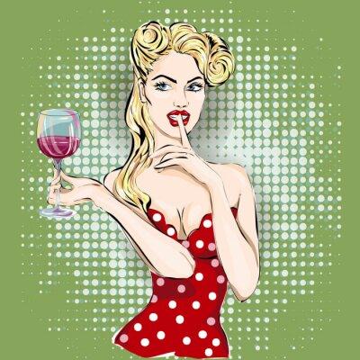 Posters Shhh pop art visage de femme avec le doigt sur ses lèvres et un verre de vin