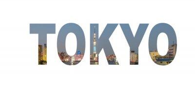 Posters Signe de nom de ville de Tokyo avec la photo dans l'arrière-plan. Isolé sur fond blanc ..