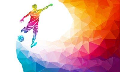 Posters Silhouette créative de joueur de football. Football, joueur, coup, le, balle, dans, branché, résumé, coloré, polygon, arc-en-ciel, dos