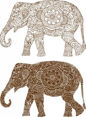 Posters silhouette d'un éléphant dans les habitudes de mehendi indiennes