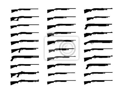 Posters Silhouette de fusils de chasse ensemble. Illustration vectorielle isolée sur fond blanc EPS10.