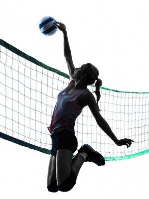 Posters silhouette femme joueurs de volley-ball isolé