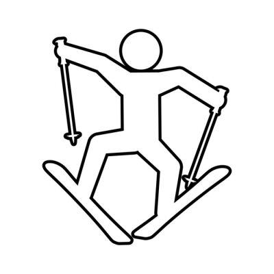 silhouette man skiing icon