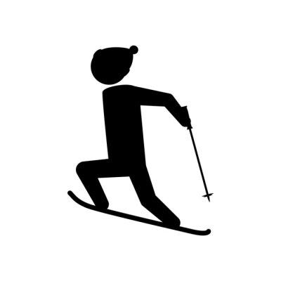 silhouette man skiing icon vector illustration