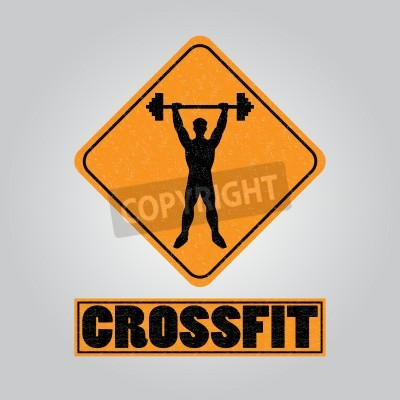 Posters Silhouette of a man with a barbell in his hands. icon for the gym, the competition or as a sticker on the T-shirt.