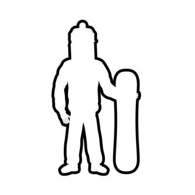 silhouette snowboard athlete icon vector illustration