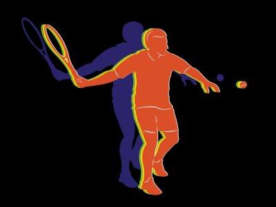 Posters Silhouette, tennis, joueur, vecteur, dessin