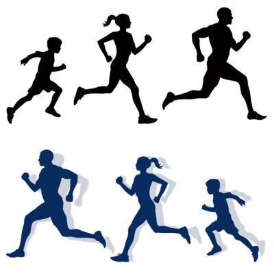 Posters silhouettes de jogging de famille