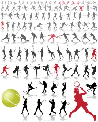 Posters Silhouettes et ombres des joueurs de tennis, illustration vectorielle