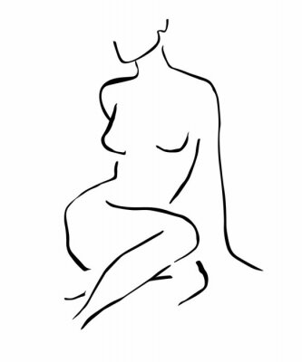 Posters Simple hand drawn trendy line silhouette woman. Modern minimalism art, aesthetic contour. Abstract women's silhouette, minimalist style. Scandinavian print