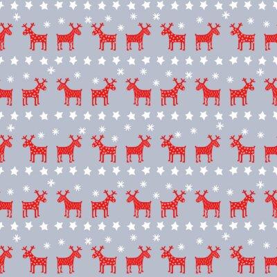 Posters Simple pattern rétro de Noël - rennes de Noël, des étoiles et des flocons de neige. Bonne fond du Nouvel An. Vector design pour des vacances d'hiver sur fond gris.