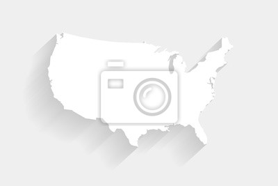 Posters Simple white United States map on gray background, vector