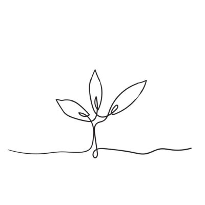 Posters Single continuous line art growing sprout handdrawn doodle style