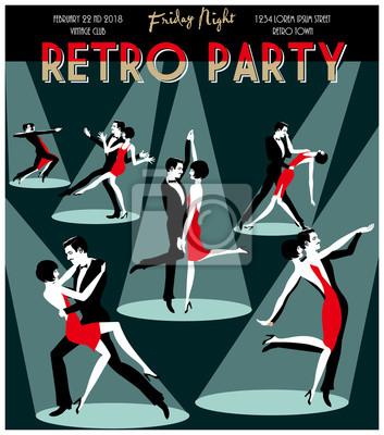 Six couples de danse. Carte rétro d'invitation au dessin de main de fête. Style Art Déco