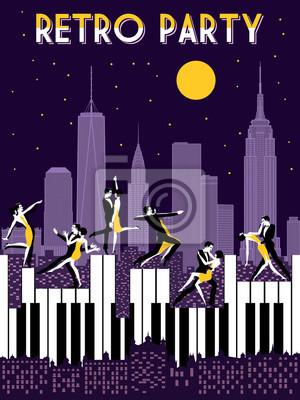 Six danseuses danses sur piano. Carte rétro d'invitation au dessin de main de fête. Style Art Déco