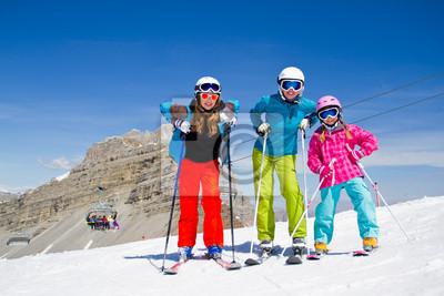 Ski, sports d'hiver - skieurs Dolomites, Italie