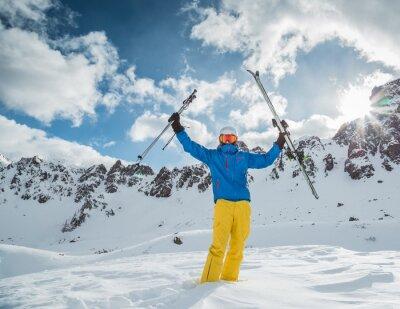 Posters Skieur, élevé, montagnes