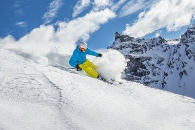 Posters Skieur ski alpin en haute montagne