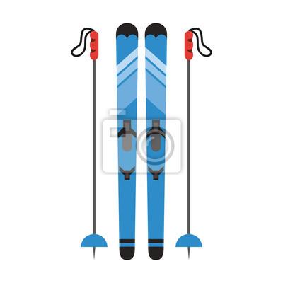 skis avec des bâtons sports d'hiver connexes icône image vector illustration design