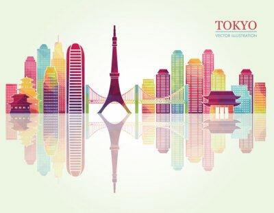 Posters Skylines détaillées de Tokyo. Illustration vectorielle
