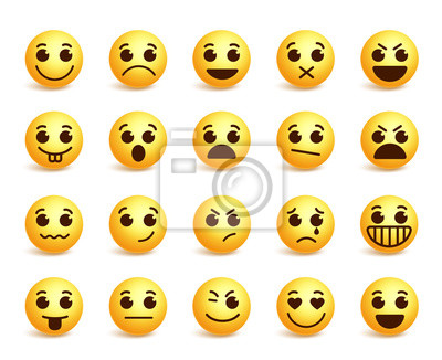 Smiley Vecteur Icones Ensemble Rigolote Facial Expressions Affiches Murales Posters Emoticones Desappointe Smiley Myloview Fr