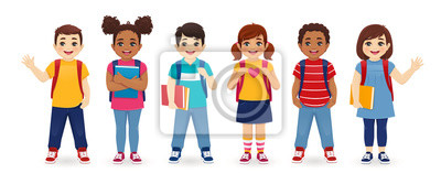 Posters Smiling school children boys and girls with backpacks and books set isolated vector illustration. Multiethnic cute kids.