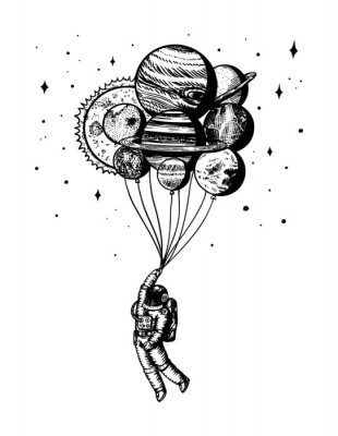 Posters Soaring Spaceman. Astronaut with planets. Balloons in space. Man in the solar system. Engraved hand drawn Old sketch in vintage style.