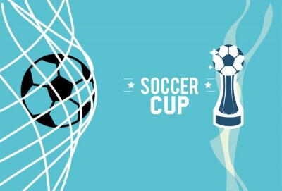Soccer 2020 ball on goal and trophy vector design