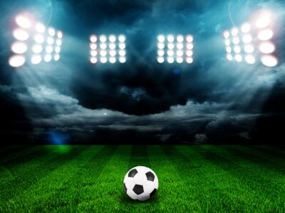Posters Soccer ball on the field of stadium with light