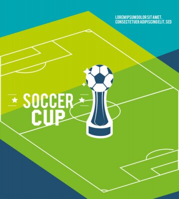 Soccer court 2020 with ball trophy vector design