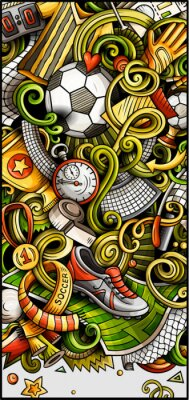Posters Soccer hand drawn doodle banner. Cartoon detailed illustrations.