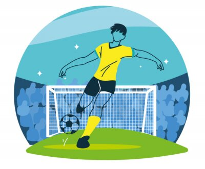 Soccer player man with ball in front of goal vector design