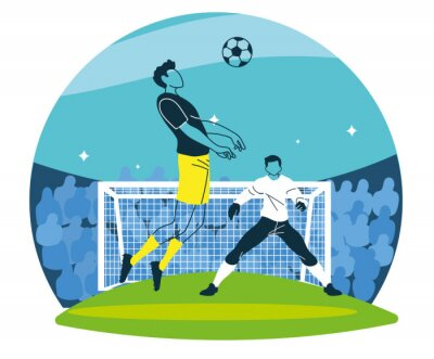 Soccer players men with ball in front of goal vector design