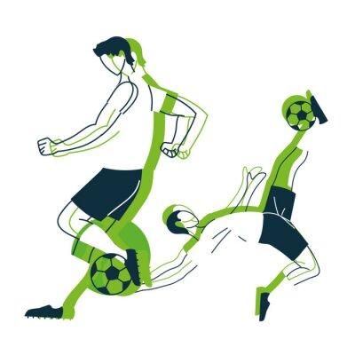 Soccer players men with balls vector design