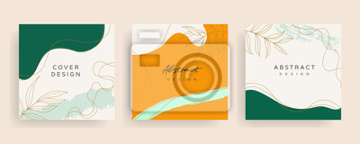 Posters Social media stories and post creative Vector set. Background template with copy space for text and images design by abstract colored shapes,  line arts , Tropical leaves  warm color of the earth tone
