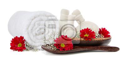 Spa réglage de massage avec une serviette et de fleurs laminés