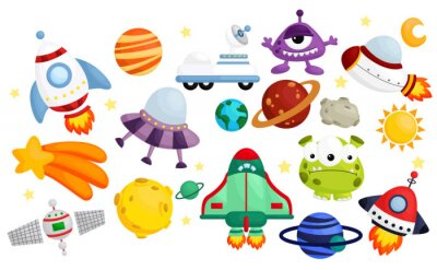 Posters space  vector set - no background