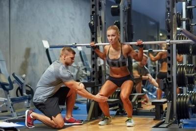 Posters Sport, Fitness, Travail en équipe, culturisme, gens, concept - jeune, femme, personnel, entraîneur, Barbell, fléchir, muscles ...