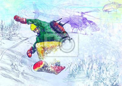 Sports d'hiver - paramédic snowboard (dessin original)
