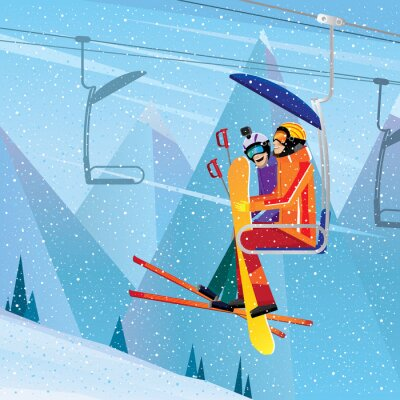 Posters Sportsmen escalader la montagne sur ascenseur aérien