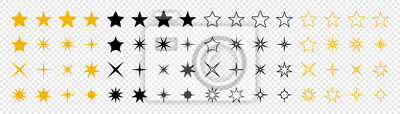 Posters Stars collection. Star vector icons. Golden and Black set of Stars, isolated on transparent background. Star icon. Stars in modern simple flat style. Vector