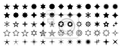 Posters Stars set of 65 black icons. Rating Star icon. Star vector collection. Modern simple stars. Vector illustration.
