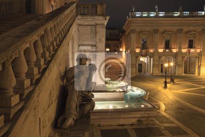 Statua del fiume Nilo la nuit, Rome, Italie