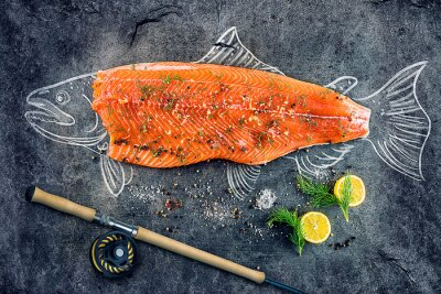 Posters Steak de poisson de saumon cru avec des ingrédients comme le citron, le poivre, le sel de mer et l'aneth sur le tableau noir, l'image esquissée à la craie de poisson de saumon avec steak et canne à pê