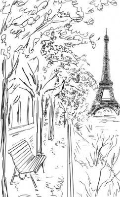 Posters Street à l'automne à Paris. L'illustration de la Tour Eiffel