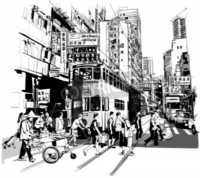 Posters Street in Hong Kong - Vector illustration (all chinese characters are fictitious)