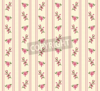 Posters Striped retro rose seamless in village style